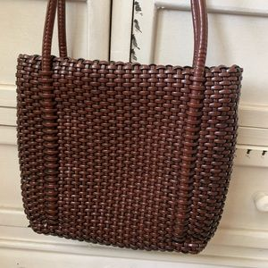 NINE WEST Boho Brown Wicker Style Crossbody Purse